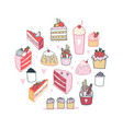 hand drawn delicious food dessert collection vector image