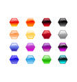 hexagon shape buttons vector image vector image