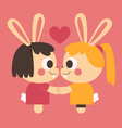 Homosexual Bunny Couple Holding Hands vector image