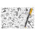 hygiene hand drawn doodle set vector image