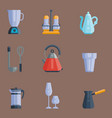 kitchen utensils icons vector image vector image