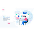 landing page presents effective data analysis app vector image vector image