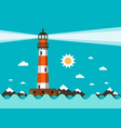 lighthouse on sea flat design vector image vector image