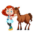 Little girl standing with the horse vector image