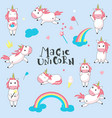 magic unicorns hand drawn vector image