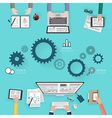 Modern creative office workspace infographic vector image vector image