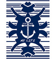 Navy blue hipster element Anchor Striped vector image vector image