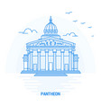 pantheon blue landmark creative background and vector image