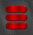 red metal brushed plates on perforated background vector image vector image
