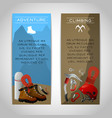 Rock climbing two banners set vector image