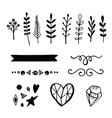 set of 15 hand drawn decorative elements vector image vector image