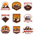 set of mountain emblems hiking tourism extreme vector image vector image