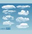 set realistic transparent cloudsin blue sky vector image