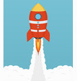 startup cosmic rocket design in flat design vector image