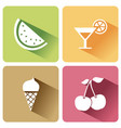 summer food icons with shadow on a white vector image vector image