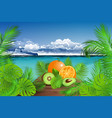 summertime tropical fresh fruits vector image vector image