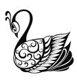 Swan bird silhouette vector image vector image