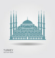 the blue mosque istanbul turkey flat icon with vector image vector image