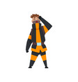 tired fireman firefighter character in uniform at vector image vector image