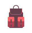 travel backpack icon in flat style handbag travel vector image vector image