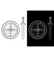 viking shield and sword hand drawn sketch black vector image