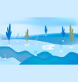 winter snow landscape background minimal flat vector image vector image
