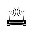 wireless internet black icon sign on vector image vector image