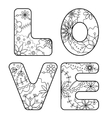 word love painted coloring vector image vector image