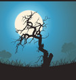 dead tree silhouette in the moonlight vector image
