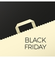 Black friday flat background with shopping bag vector image
