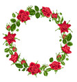 decorative wreath with red roses beautiful vector image