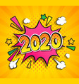 2020 new year boom speech bubble in pop art style vector image