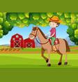 a boy riding horse at farmland vector image vector image