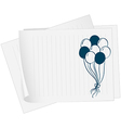 A paper with a drawing of balloons vector image vector image