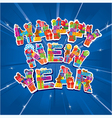 Abstract Happy New Year blue background vector image vector image