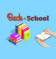 back to school with stack of books vector image vector image