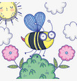 bee insect animal with flowers and clouds vector image