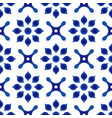 blue and white flower tile pattern vector image vector image