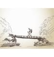 bridge crossing river with trekking woman vector image