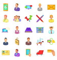 business process icons set cartoon style vector image vector image