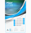 calendar template for 2018 year may design print vector image