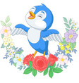 cartoon blue bird singing on tree branch vector image vector image