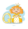 Cartoons Alphabet - Letter Q with funny Queen vector image vector image