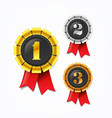 champions gold silver and bronze award medals vector image vector image