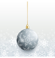 Christmas card with grey christmas ball vector image vector image