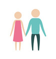 color silhouette pictogram couple holding hands in vector image vector image