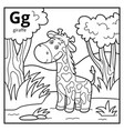 coloring book colorless alphabet letter g giraffe vector image vector image