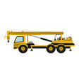 construction truck with crane vector image vector image