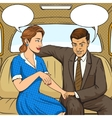 Couple talking in taxi pop art style vector image vector image