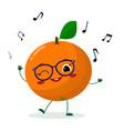cute orange cartoon character in glasses dances to vector image